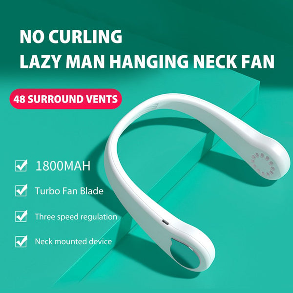 Hot Sale Air Cooling Neck Fan Bladeless Hanging Neck Fan Summer Air Cooler Outdoor Sport Mini USB Rechargeable Neckband Fans
