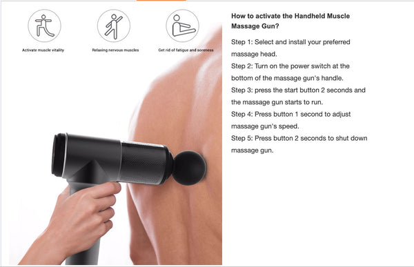 Portable And Powerfull Massage Gun 3400 mAh (With Stainless Steel Attachments)
