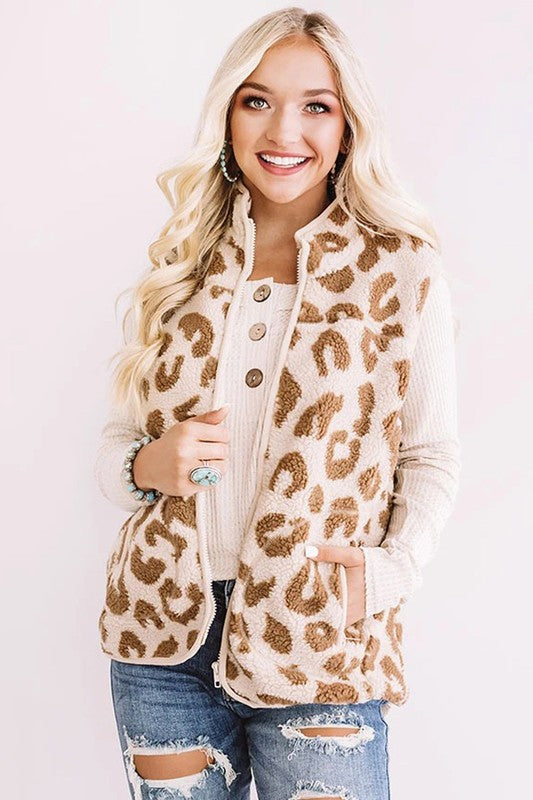 Retro Fashion Leopard Sherpa Vest
