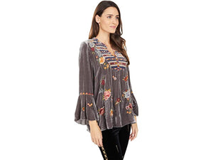 Johnny Was Sisilia Grey Velvet Flare Blouse