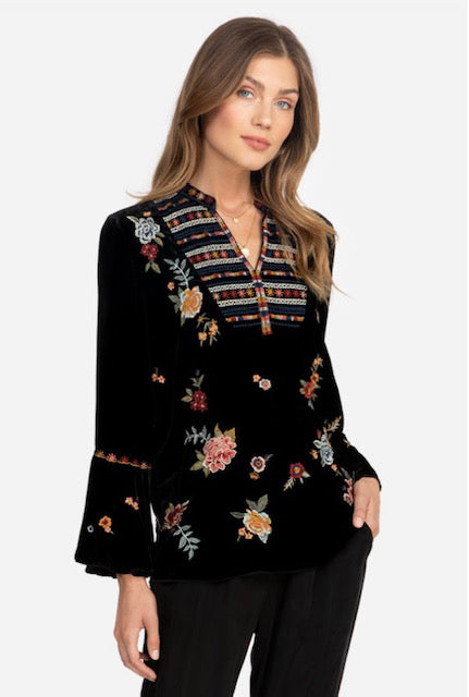 Johnny Was Sisilia  Black Velvet Flare Blouse