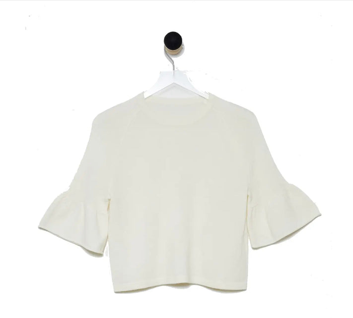 Revive Cashmere Ruffle Sleeve Crop Sweater