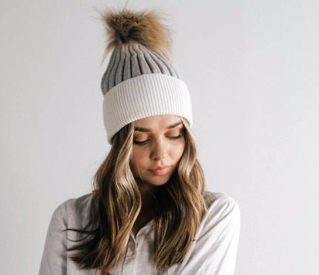 Gigi Pip Erin Two Tone Beanie - Light Grey & White