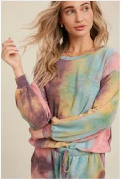 Tie-Dye Crewneck Casual Top- Mint/Coral