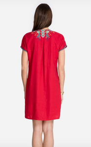 Johnny Was Ariel Easy Tunic Dress - Lipstick Red