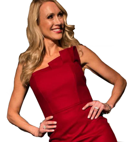 CONTRIBUTOR CH Caroline Hayden Red Wool Strapless Dress