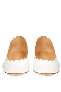 Chloe 'Lauren' White Scallop Leather Flat