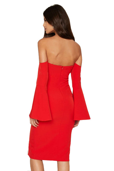 Bardot Heat Wave Off The Shoulder Red Midi Dress