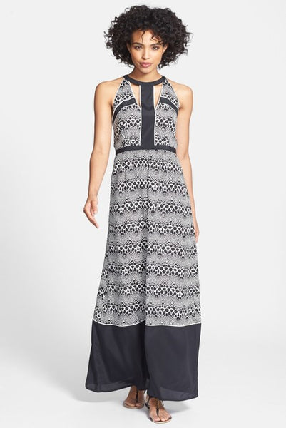 Ivy & Blu Cutout Print Chiffon Maxi Dress