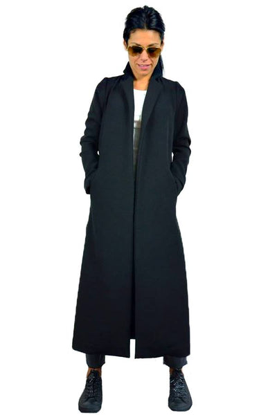 Femme Cardigan Black Trench Jacket