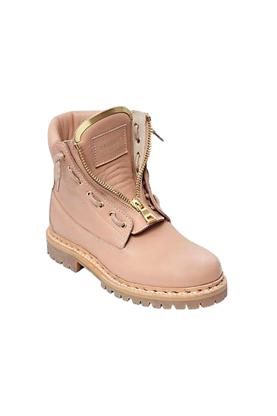 Balmain 'Tiaga' Antique Pink Leather Military Boots