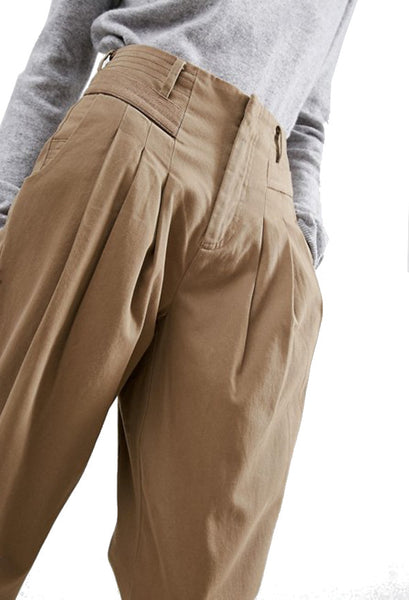 ASOS Light Brown High Waist Brushed Chino Trousers