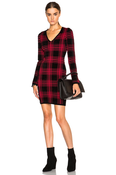 Alexander Wang Buffalo Plaid V Neck Long Sleeve Dress