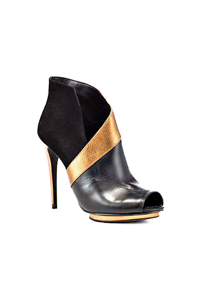 BCBG Black & Gold Trimmed Bootie
