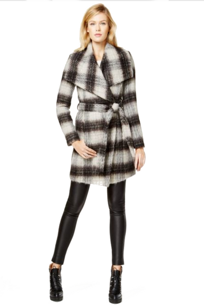 BCBGeneration Plaid Wrap Coat