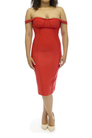 BQUEEN Bandage Silk Midi Dress Red