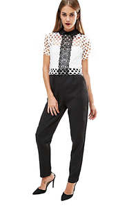 BooHoo Black & White Lace Collared Jumpsuit