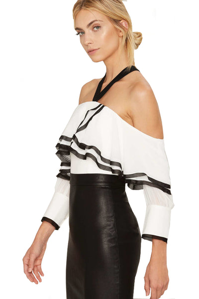 Boutique Brand Black & White Matador Off The Shoulder Top