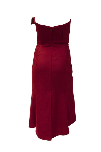 Caroline Hayden Red Wool Strapless Dress