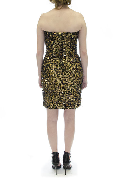 Caroline Hayden Black & Gold Sequin Beaded Mini Dress