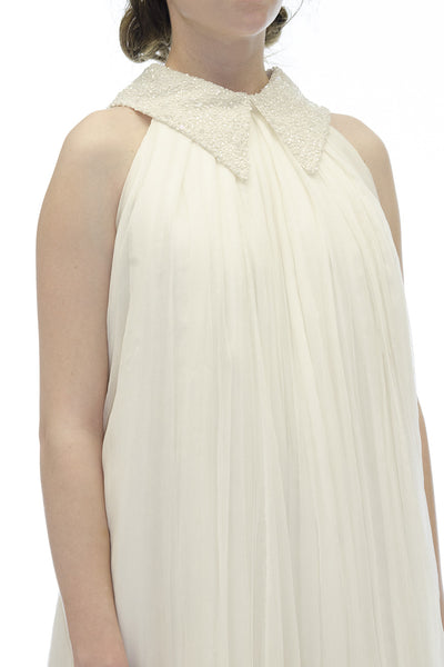 Caroline Hayden Light Ivory Silk Trapeze Dress with Beaded Collar