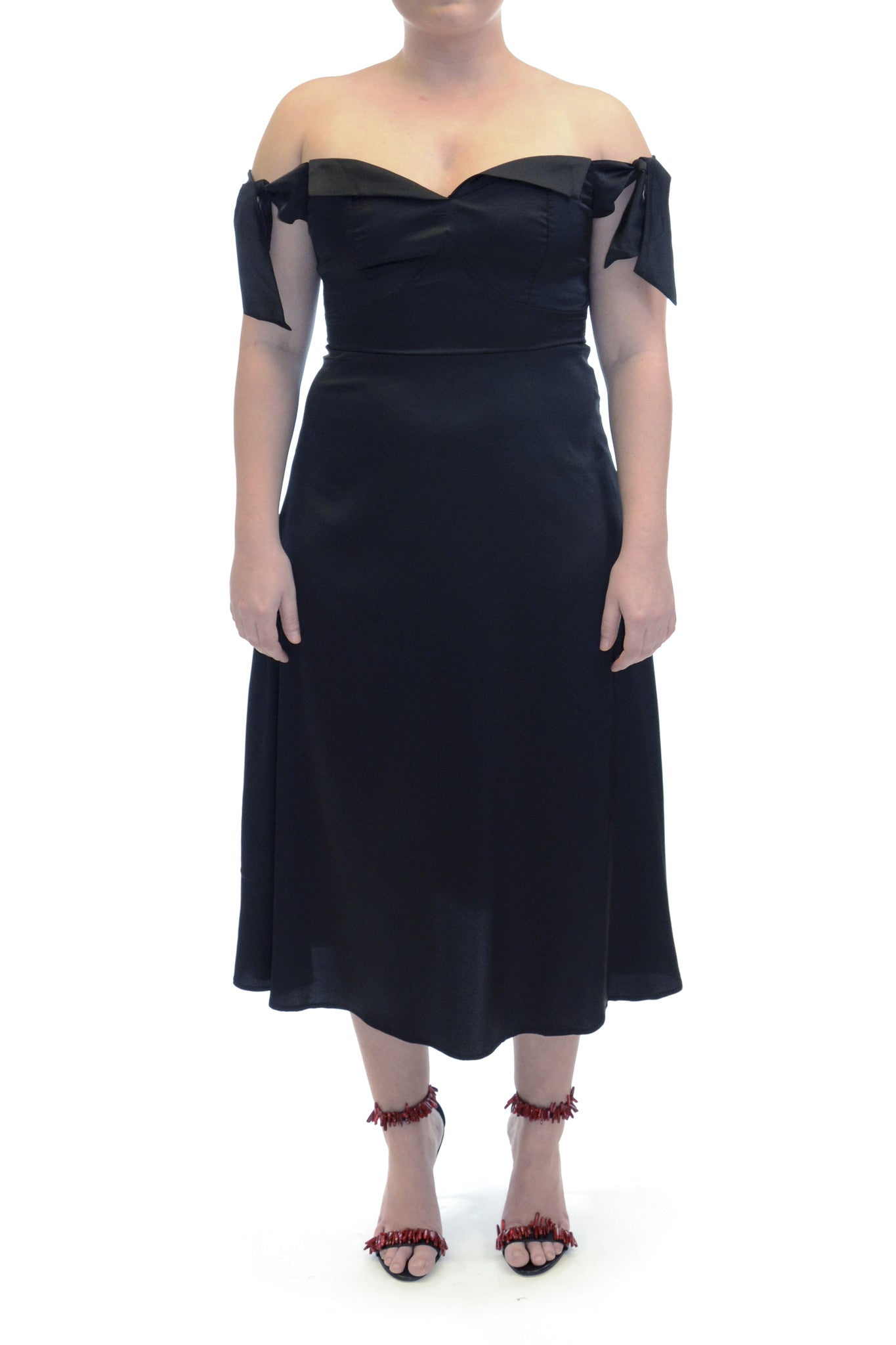 Charlie Black Satin Midi Dress