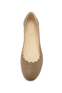 Chloe 'Lauren' Olive Scallop Leather Flat