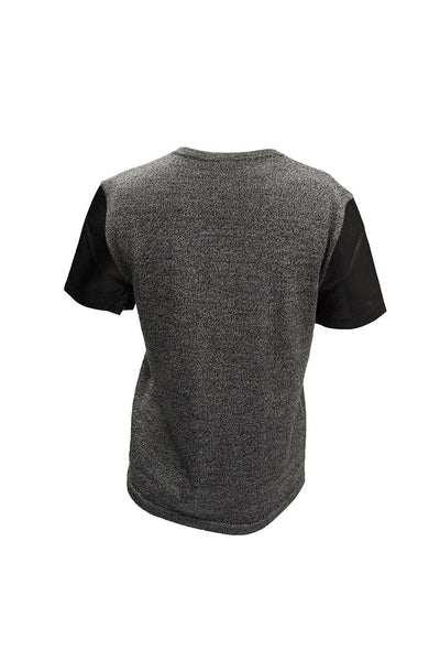 Theory Grey Top with Leather Sleeves