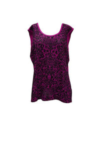 Ming Wang Sleeveless Lace Print Top