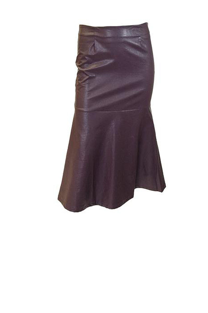 Olivaceous Vegan Leather Skirt