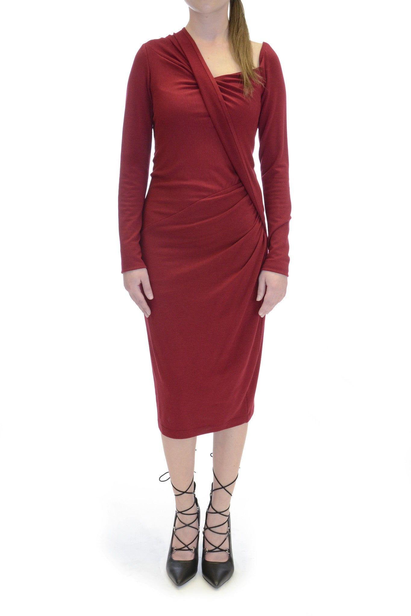 Donna Karan Wrap Style Red Stretch Jersey Midi Dress