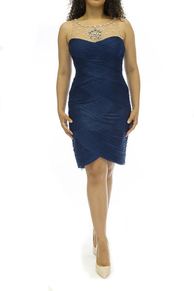 Embellished Twilight Blue Tiered Stretch Tulle Sheath Dress