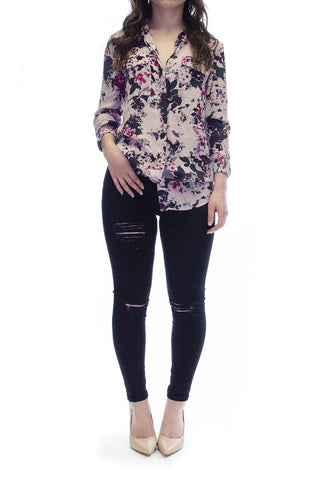 Halogen Long Sleeve Multicolor Top