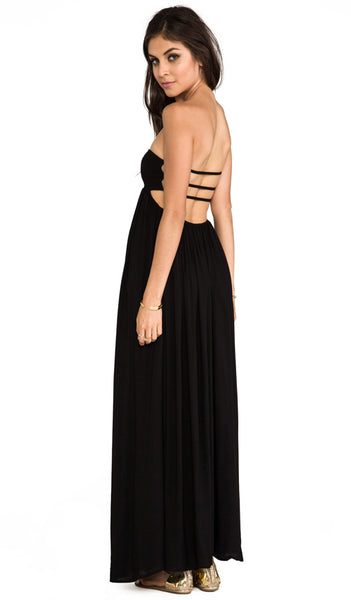 "Indah ""Flamingo"" Black Maxi Dress"
