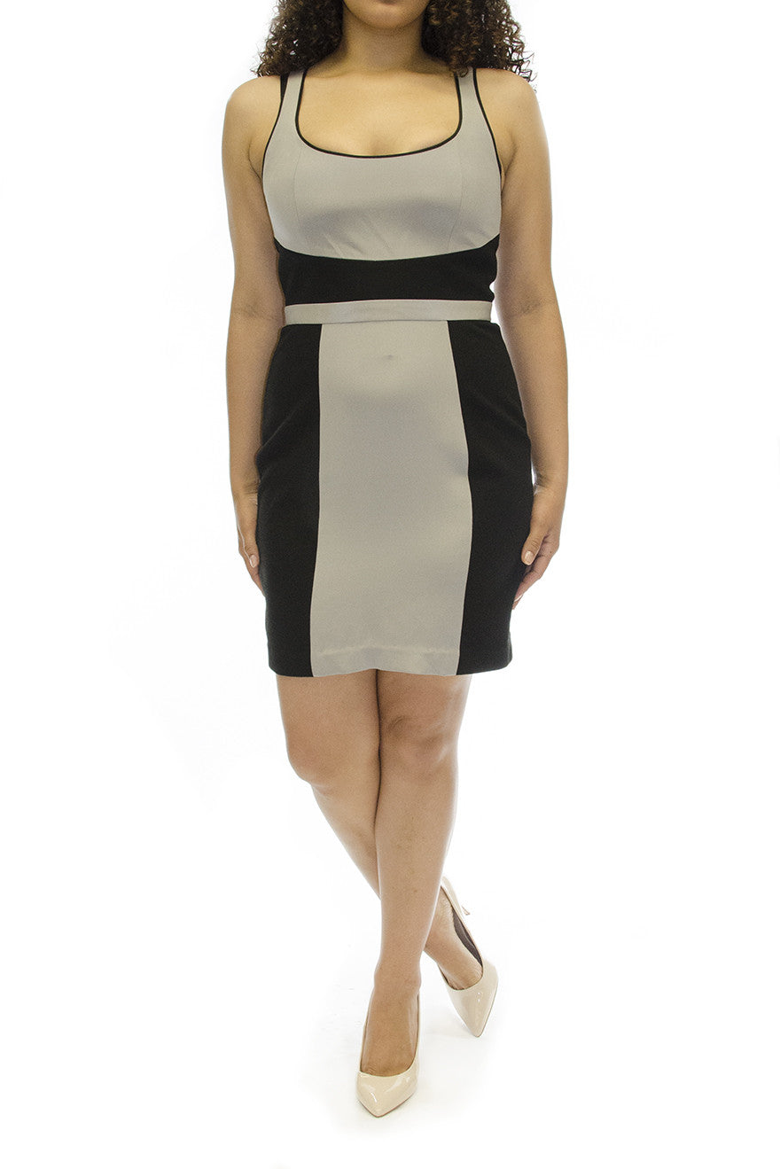 TORN BY RONNI KOBO WOMENS IVY COLOR BLOCK PONTI NAVY COMBO DRESS