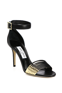 Jimmy Choo Livvi Leather and Metallic Leather Sandals