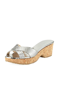 Jimmy Choo Steel Cross-Front Cork Wedge