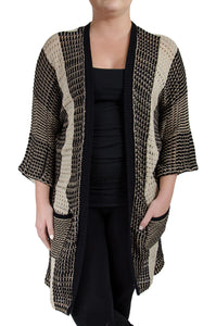 Lucky Brand Mixed Stitch Long Cardigan