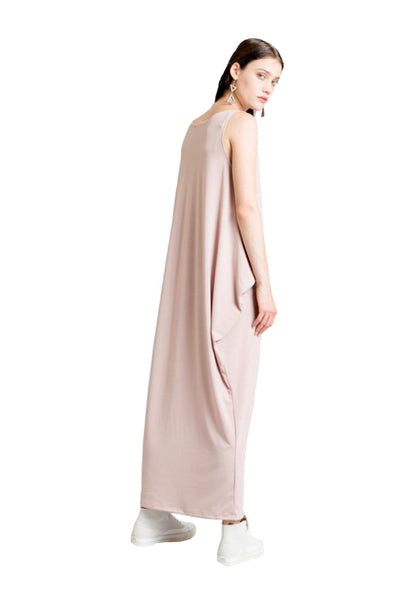 Marcellamoda Nude Pink Maxi Kaftan Dress