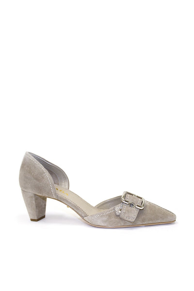 Prada Low-Heel Suede Buckle Pump, Deserto
