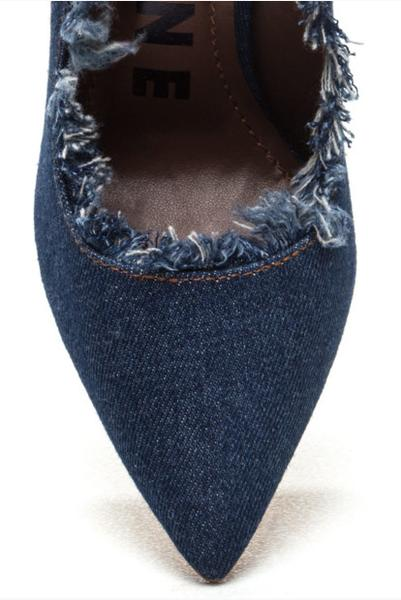 GoJane Fringe Denim Stiletto Heel