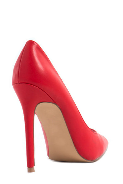 pointed-toe red heels