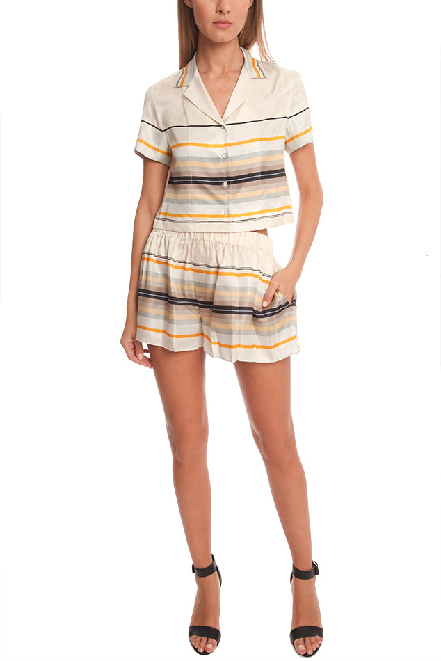 "Rag & Bone Silk Blend Striped ""Holten"" Shorts"