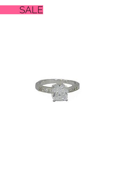 Everly Square Cut Stone Silver Ring