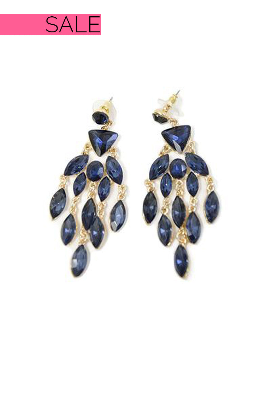Sapphire Blue Crystal Drop Earrings