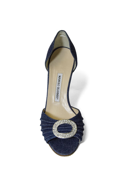 Manolo Blahnik Denim and Crystal Heels
