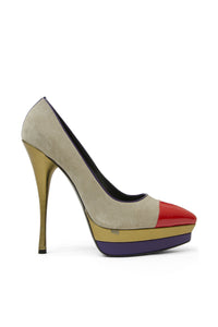 Versace Color-Block Suede and Leather Pumps