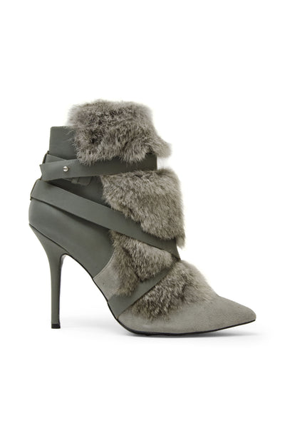 Charles Jourdan Grey Leather/Suede/Fur Booties