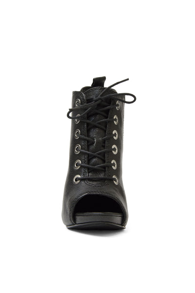Nine West Lace-Up Black Peep-Toe Bootie