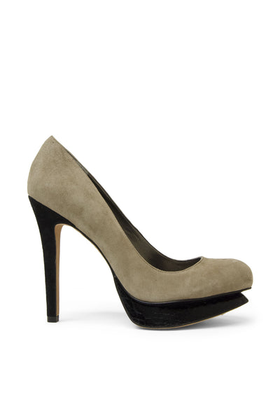 Sam Edelman Taupe Suede with Black Platform Heel